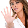 Woman making stop hand sign  — Stock Photo