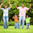 Happy family portrait outdoors — Stock Photo #7773102