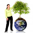 Woman protecting the planet — Stock Photo
