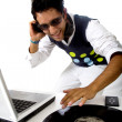 Disc jockey in action - Stock Photo
