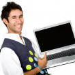 Stock Photo: Happy guy showing laptop