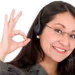 ondersteuning zakenvrouw - ok teken — Stockfoto