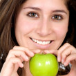 Apple girl in green — Stockfoto