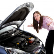 Woman car breakdown - Stock Photo