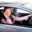 Female driver on a mobile phone - Stock Photo