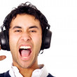Funky guy listening to music - 