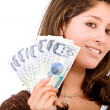 Beautiful girl with money — Stock Photo