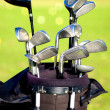 Golf clubs in a bag — Stock Photo