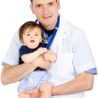 Male pediatrician and a baby girl — Stock Photo