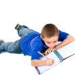 Stock Photo: School boy doing homework