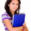 Foto Stock: Female student with notebooks