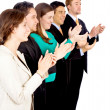 Successful business team applauding - Stockfoto