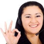 Customer service girl - okay sign — Stock Photo