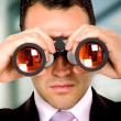 Stock Photo: Business mwith binoculars