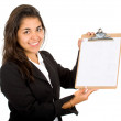 Business woman with a notepad — Stock Photo
