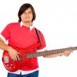 Male guitarist in a band — Stock Photo