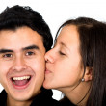 Boyfriend receiving a kiss — Stock Photo