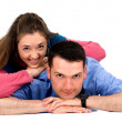 Casual Couple on the floor — Stock Photo
