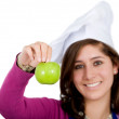 Female chef with an apple — Stock Photo #7774317