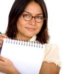 写在记事本上的商界女强人 — 图库照片