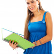 Casual girl smiling with a notebook - Stock Photo