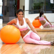 Girl doing pilates - Stock Photo