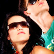 Fashionable couple with sunglasses — Stock Photo