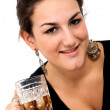 Beautiful girl with a drink — Stock Photo #7774618