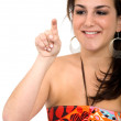 Stock Photo: Female pointing at screen