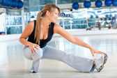 Gym stretches — Stock Photo