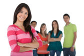 Beautiful woman with a group — Stock Photo