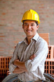 Construction worker smiling — Stock Photo