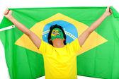 Brasilianischen mann mit der flagge — Stockfoto