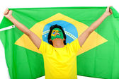 Homme avec le drapeau brésilien — Photo