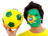 Brazilian football fan — Stock Photo