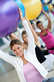 With pilates ball — Stok fotoğraf
