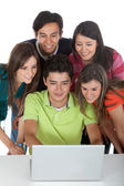 Group of with a computer — Stock Photo