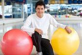 Man with pilates ball — Stock Photo