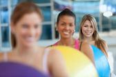 Women with pilates ball — Stock Photo