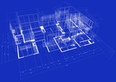 3d blueprint house — Stockfoto