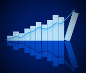 3D business blue chart — Stock Photo