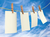 Clothes pin holding sheets — Stock Photo