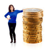 Woman with euro coins — Stock Photo