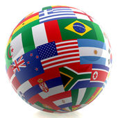 Football with world flags — Stock Photo