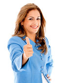 Business woman with thumbs up — Stock Photo