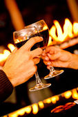 Toasting with wine — Stock Photo
