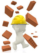 3D construction worker with bricks — Stock Photo