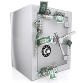 Dollars sticking out of safe — Stock Photo
