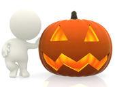 Man with Halloween pumpkin — Stock Photo