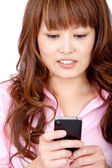 Mujer enviar un texto — Foto de Stock